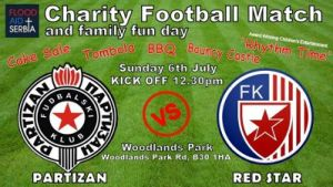 'Red Star' vs 'Partizan' match in Birmingham for Flood Aid, fun day follows